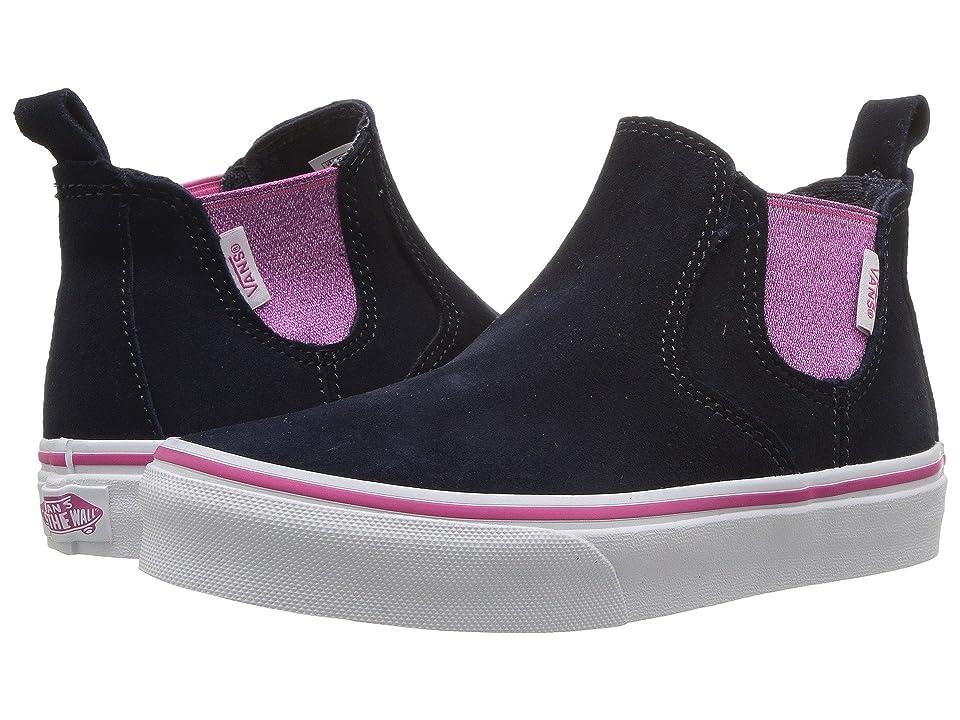 Vans Kids Classic Slip-On Mid (Little Kid/Big Kid) ((Shiny Gore) Parisian Night/Magenta) Girls Shoes
