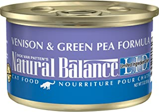 Natural Balance L.I.D. Limited Ingredient Diets Wet Cat Food, Venison & Green Pea Formula, 3 Ounce Can (Pack of 24), Grain...