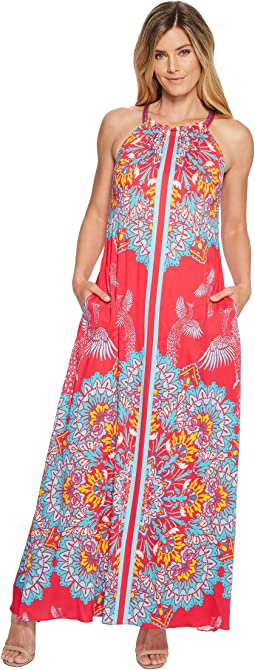 Hale Bob Fierce Creatures Stretch Satin Woven Maxi Dress
