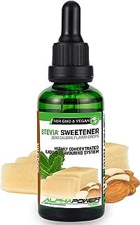 ALPHA POWER FOOD®: Stevia líquida natural - Stevia Gotas de Mazapán, Edulcorante natural, sustituto del azúcar con sabor - sin azúcar & calorías