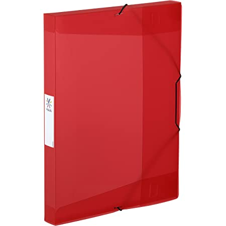 Viquel - Chemise plastique à élastiques - Boite de classement format A4 - Etiquette d'identification sur le côté - Fabriqué en France - Rouge translucide
