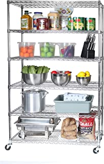 """Seville Classics UltraDurable Commercial-Grade 6-Tier NSF-Certified Wire Shelving with Wheels, 48"""" W x 18"""" D, Plated Steel"""