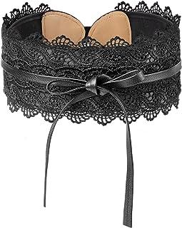 HBselect Cinturon De Mujer Encaje Moda Cinturon Mujer Ancho 10 Cm Cinturones Para Mujer