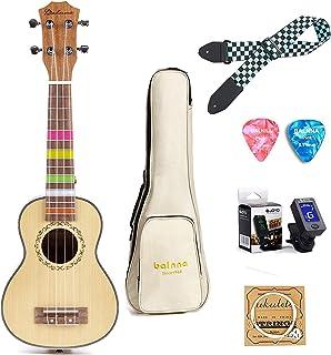 Concert Ukulele 23 inch, Balnna Traditional ukulele for beginner, Hawaiian Guitar ukalalee pack with Gig Bag & Tuner & Strap & Extra 4 Aquila Strings Set & Picks (Concert, Hawaiian Spruce)