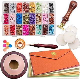 Waycreat Wax Seal Kit, 744Pcs Octagon Sealing Wax Beads with Melting Furnace, Tree of Life Stamp, 10 Pcs High-Grade Vintag...