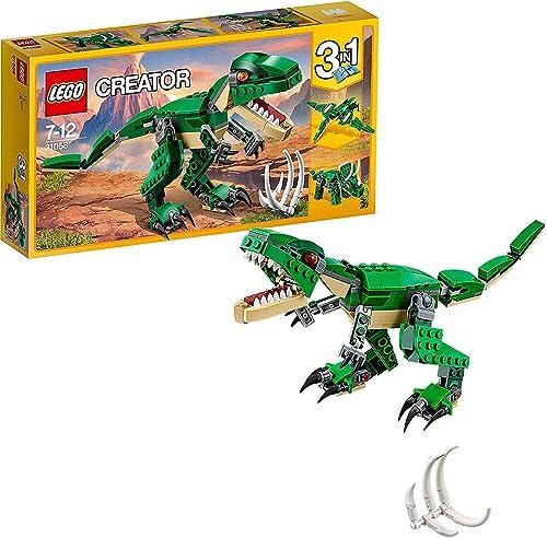 LEGO 31058 Creator LeDinosaureféroce, Modèle 3 en 1, Figurines de Dinosaures tricératops et ptérodactyle, système d...