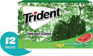 Trident Watermelon Twist Sugar Free Gum - with Xylitol - 12 Packs (168 Pieces Total)