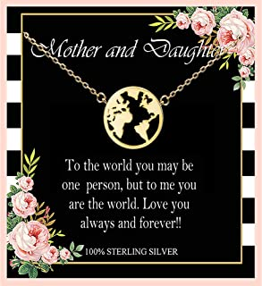 Mother and Daughter Necklace, Sterling Silver World Map Necklace, Mom Necklaces for women, Mom and Daughter, Mother Daughter Jewelry, Mother Daughter Necklace, Mother's Day Gift, Birthday Gifts, Gifts for Mom from Daughter
