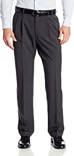 Van Heusen Men's 50Y7338 Big and Tall Stretch Traveler Cuffed Crosshatch Pleated Pant
