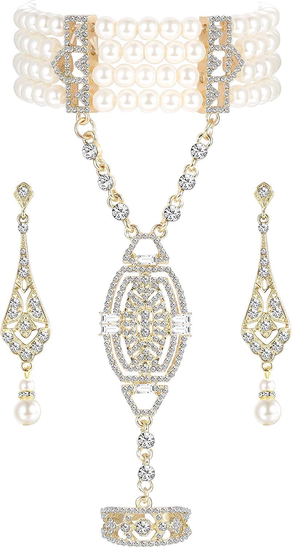 Udalyn 1920s Flapper Bracelet Ring Set Imitation Pearl Crystal Bracelet for Women Art Deco Gatsby Earrings 20s Flapper Gatsby Accessories Vintage Wedding Dangle Pearl Earrings