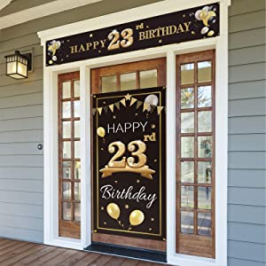PAKBOOM Happy 23rd Birthday Door Cover Porch Banner Sign Set - 23 Years Old Birthday Decorations Party Supplies for Men - Black Gold