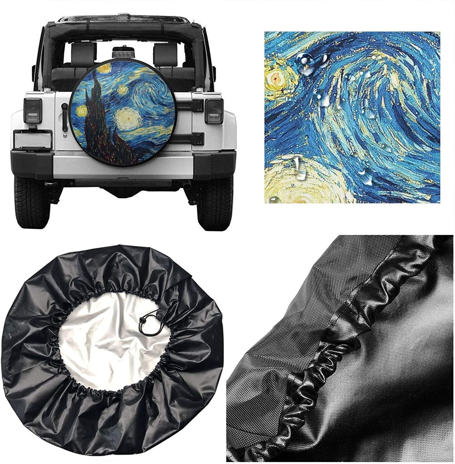 ainidamiss America Flag Deer Tire Cover Polyester Universal Spare Wheel Tire Cover Wheel Covers for Trailer RV SUV Truck Camper Travel Trailer Accessories