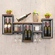 Wine Rack Wine Rack Wall Mounted Bottle & Glass Holder - 4 Long Stem Glass Holder - Home & Kitchen DÉCor - Storage Rack Df...