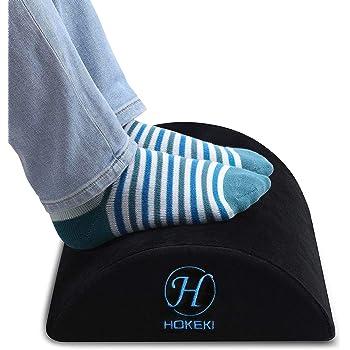 HOKEKI Foot Rest Under Desk with Ergonomic Height, Soft Yet Firm Foam Velvet Footrest Cushion, Foot Stool Rocker Pillow for Home, Office, Car, Airplane to Relieve Lumbar, Back, Knee Pain (Black)