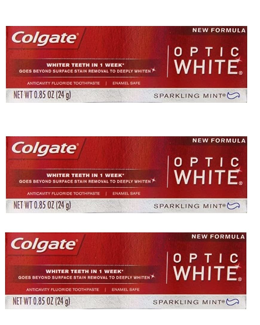 コーラスライフルメトロポリタンColgate Optic White Toothpaste Sparkling Mint 0.85 Oz Travel Size (Pack of 3) by Optic