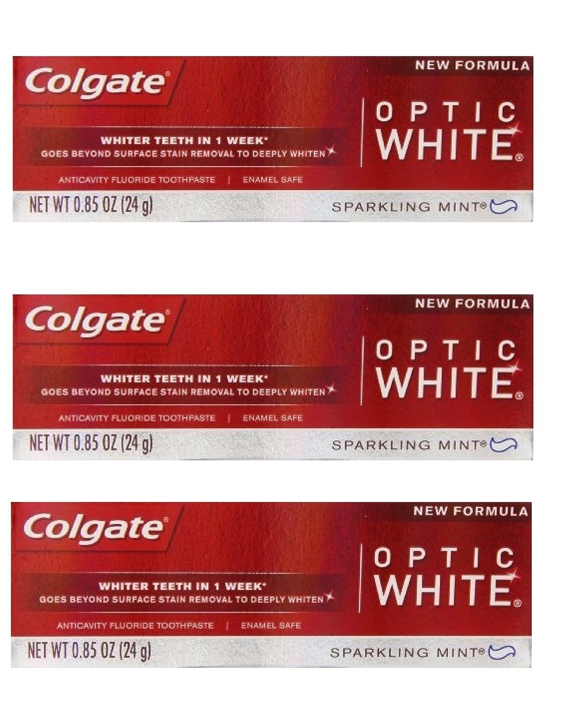 道徳の建てるカセットColgate Optic White Toothpaste Sparkling Mint 0.85 Oz Travel Size (Pack of 3) by Optic