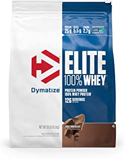 Dymatize Elite 100% Whey Protein Powder, 25g Protein, 5.5g BCAAs & 2.7g L-Leucine, Quick Absorbing & Fast Digesting for Optimal Muscle Recovery, Rich Chocolate, 10 Pound