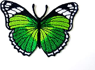 TH Butterfly Green Color Retro Beautiful Logo Patches Applique Embroidered Sew on Iron on Patch for Backpacks Jeans Jacket...