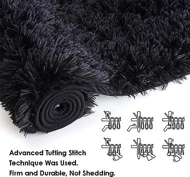 Ompaa Fluffy Runner Rugs, 2x5.9 Feet Black, Super Soft Shaggy Carpet Fuzzy Long Fur Rug for Bedroom Living Room Dorm, Plush K