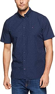 TOMMY HILFIGER Men's Double Dash Allover Print Short Sleeve Shirt, Medieval Blue/Bright White