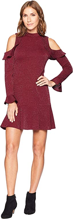 Mariella Long Sleeve Cold Shoulder Lurex Jacqard Dress