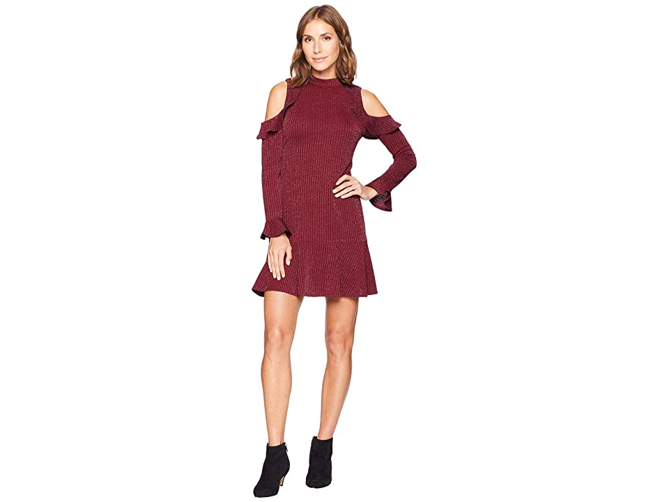 CeCe Mariella Long Sleeve Cold Shoulder Lurex Jacqard Dress (Deep Syrah) Women