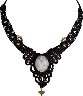 SPUNKYsoul Handmade Black Macramé Woven Necklace with White Moonstone Crystal Pendant in Silver and Gold for Women Collection