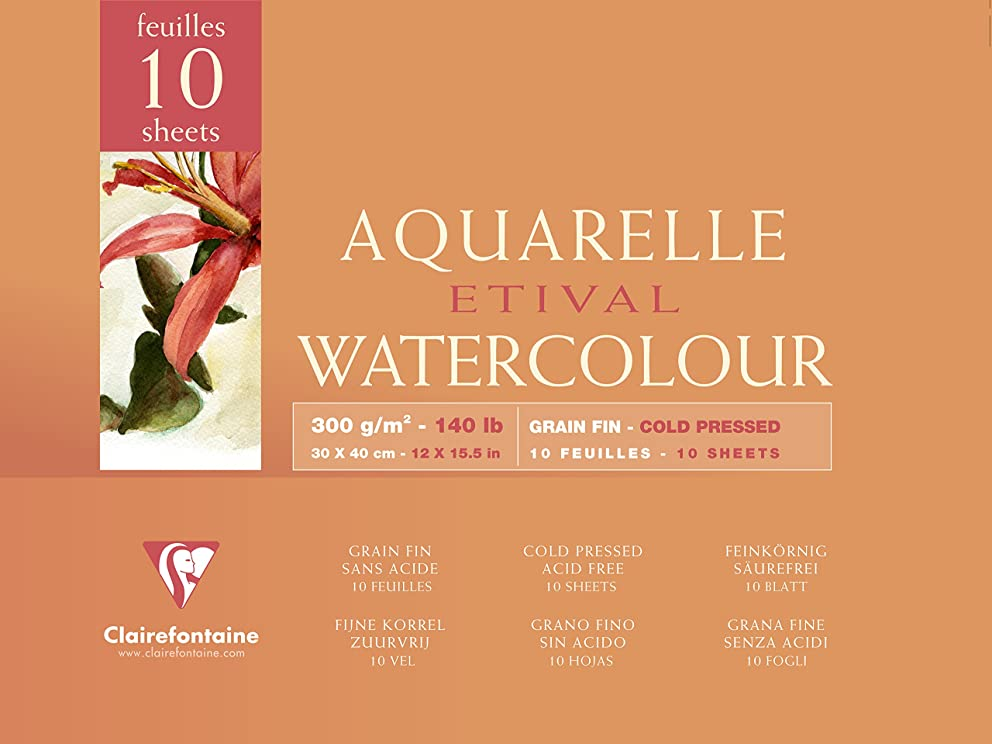 Clairefontaine Etival Watercolour Cold Pressed Paper Pad, 30X40Cm, 300Gsm - White, 10Sheets