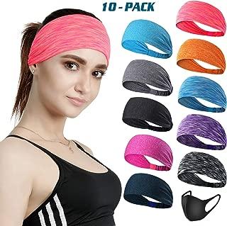 DASUTA Set of 10 Women's Yoga Sport Athletic Headband for...