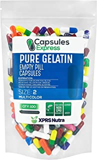 XPRS Nutra Size 2 Empty Capsules - Multi Color Colored Empty Gelatin Capsules - Capsules Express Empty Pill Capsules - DIY...