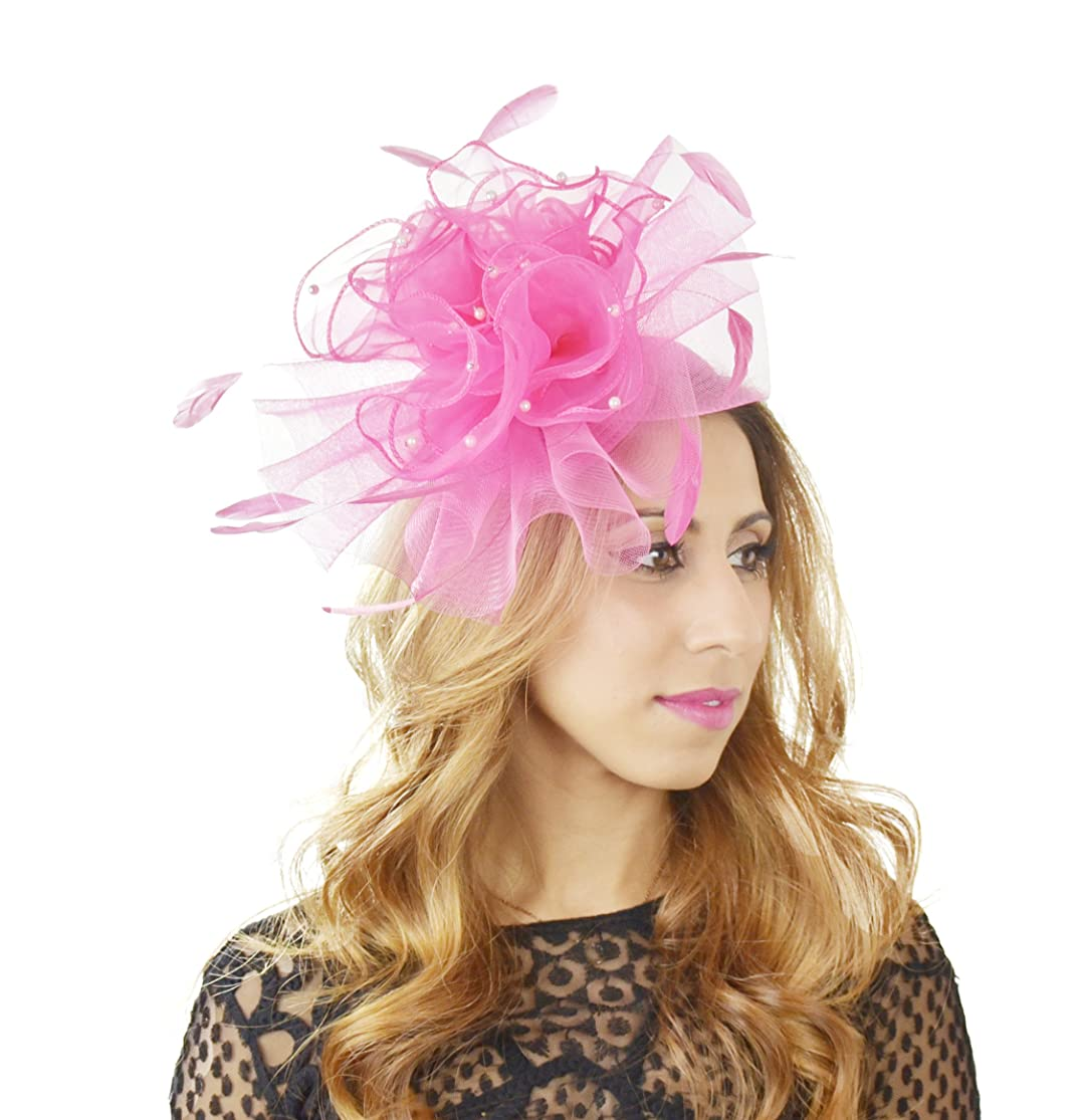 Hats By Cressida Gorgeous Feevah Ascot Derby Fascinator Hat - with Headband - Available in 30 Colours vsbmccro2