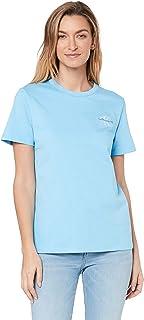Calvin Klein Jeans Women's Monogram Embroidery Straight T Shirt, Alaskan Blue, L