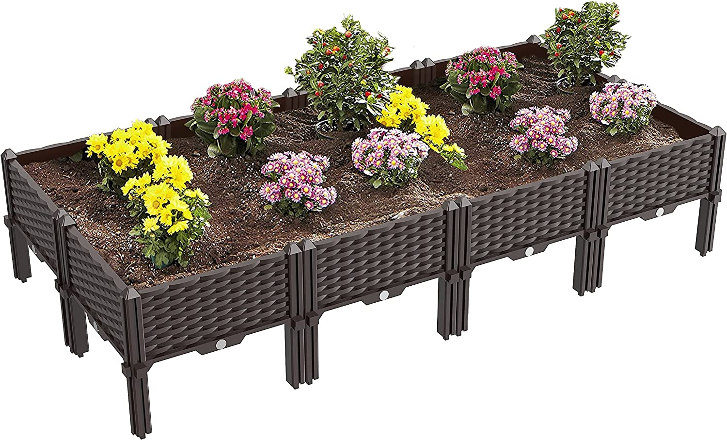 Set of 8 Raised Garden Bed Kits,Self-Watering Plastic Planter Box Outdoor for Indoor Outdoor Vegetables, Fruits, Potato, Flowers, Easy Assembly(61.4x30.7x14.16 in)