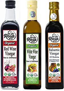 ORGANIC Balsamic Vinegar & Red White Wine Vinegar Combo (3-Pack) - De La Rosa 16.9oz - 100% Pure, Raw & Unfiltered   Vega...