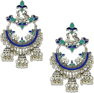 مجوهرات فضية مقرمشة أزياء بوليوود التقليدية الهندية المؤكسدة أقراط زرقاء Jhumki Jhumka للنساء/البنات
