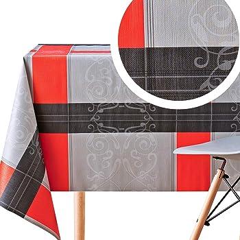 155x250cm Nappe enduite rectangulaire ray/ée SEBASTIAN Stof cuisine ou salle /à manger 100/% Coton gris anthracite rose fuschia