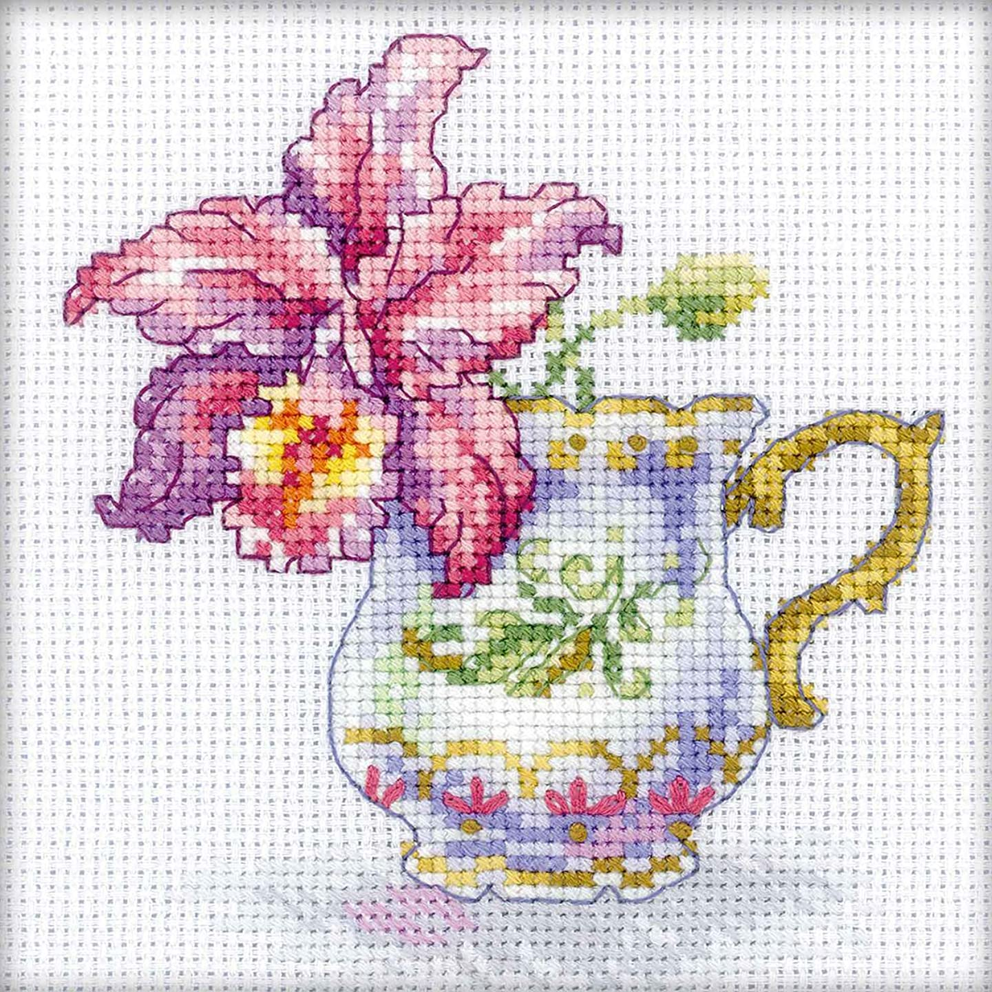 RTO EH305 14 Count Orchid Tea Party Counted Cross Stitch Kit, 4.75 by 4.75-Inch
