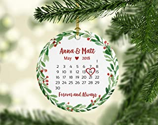 Wedding Gift for Couple Wedding Shower Gift for Bride Wedding Gift Ideas First Christmas Ornament Married Calendar Ornament Date Green