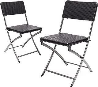 Relaxdays Klappstuhl BASTIAN 2er Set, Gartenstuhl klappbar, HBT 82 x 44 x 50 cm, Balkonstuhl im Set als Sitzgruppe, Rattan-Optik, schwarz
