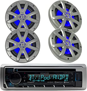 New Kenwood Outdoor Marine Boat /Car ATV AM/FM Radio CD/MP3 USB iPod iPhone Pandora Stereo Player with 4 New 6.5 Inch Charcoal Marine Speakers System - Great Marine Audio Package