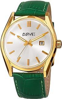 ساعة يد للسيدات من اوغست شتاينر بقرص ابيض وحزام جلدي - AS8221GN