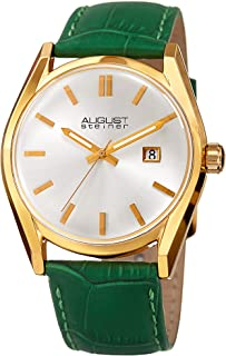 August Steiner Women's Dial Leather Band Watch - AS8221GN