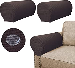 Sofa Armrest Covers(2 Pieces Set) - Water Repellent,Anti-Slip,High Stretch,Knitted Jacquard - Couch Arm Slipcover/Protector/Shield for Dog Cat Pets(Chocolate)