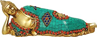 Brass Gift Center Sleeping buddha with Turquoise coral stone work Showpiece - 10 cm (Brass Multicolor)