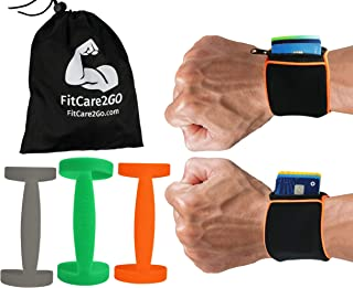 Wrist Wallet + Silicone Water Bottle Carrier | Running Gear for Men & Women, Travel Accessories | For Hiking, Jogging, Training, Gym, CrossFit, Cycling | Marathon Runner Gifts for Birthday - 4 Pieces