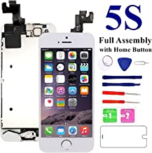 for iPhone 5S/SE Screen Replacement-White, with Home Button, Front Camera, Earspeaker - MAFIX Full Assembly LCD Display Digitizer Touch Screen Repair Kits for A1533, A1453