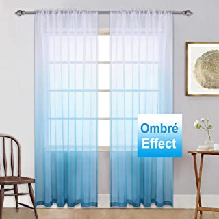 Ombre Sheer Curtains Light Blue Gradient Semi Window Curtain Teenage Girls Bedroom Curtains Voile Drapes for Girls Room/Kid's Room/Nursery/Living Room/Closet Blue and White 95 Inches Set of 2 Panels