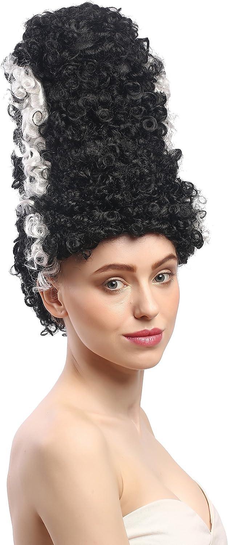 WIG ME UP- 90903-ZA103-ZA62 Peluca señoras Halloween Carnaval Novia de Frankenstein, Peinado Colmena Torre, Negro, Raya Blanca