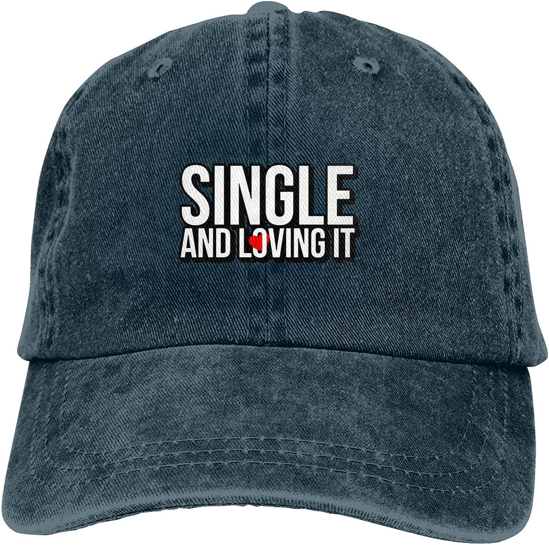 WAYMAY Single and Lovingit Unisex Adjustable Cowboy Hat Adult Cotton Baseball Cap
