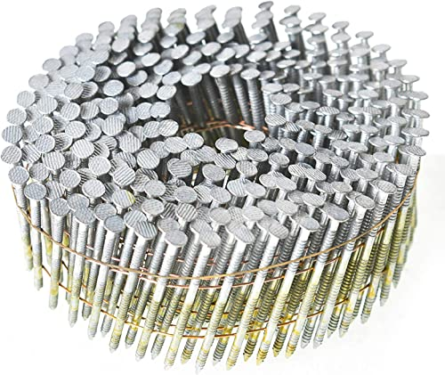 discount findmall Siding Nails 1-1/4-Inch x .092-Inch 15-Degree online Collated Wire Coil Full RoundHead Ring Shank sale Hot-Dipped Galvanized 3600 Count for Rough Nailing of Lathing and Sheathing Materials outlet online sale